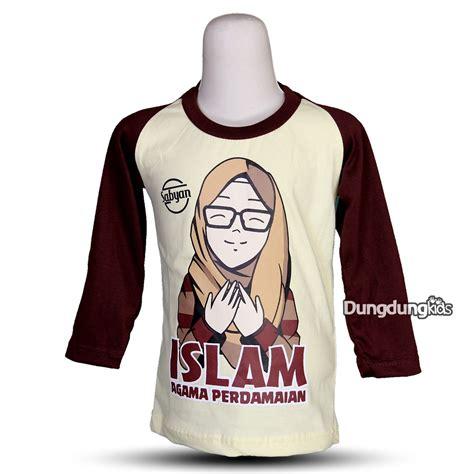 baju kaos anak muslim hijab perempuan cewek lengan panjang