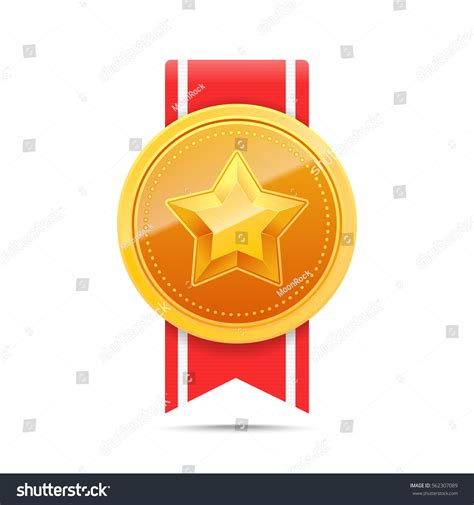 14764 award ribbon icon vector 3d gold medal ribbon lager vektor 562307089