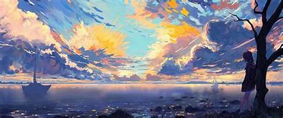 Anime Landscape Clouds Horizon Wallpapers Scenic Ships