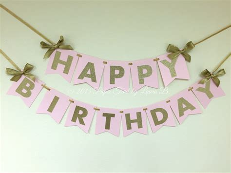 pink and gold happy birthday banner first birthday