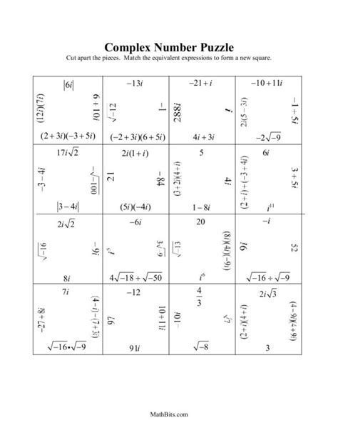 adding subtracting complex numbers worksheet worksheets