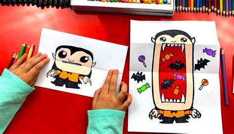 draw  big mouth vampire folding surprise art