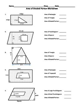 find the area of the shaded region worksheet