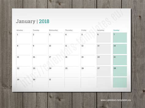 Printable Monthly Planner 2018 Desk, Wall Or Table Pad