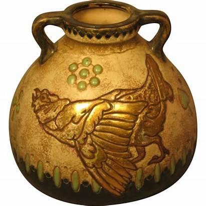 Unusual Pottery Vase Bird Amphora Handled Hills