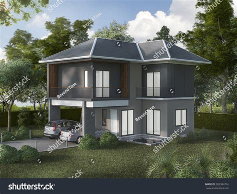 3d Rendering Beautiful Exterior Grey House Stock Photo
