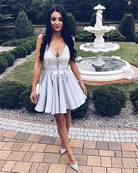Silver Satin V Neck Homecoming Dresses Lace Appliques Prom ...