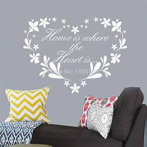 Home is where Heart is wall sticker creative quote wall ...