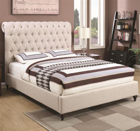 devon  upholstered bed  beige fabric  coaster