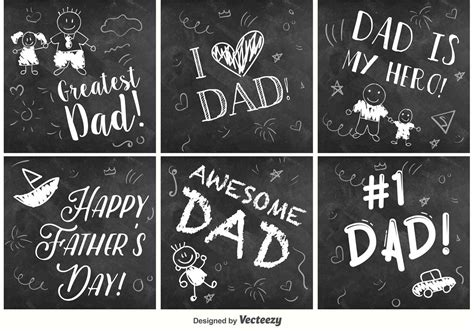 happy fathers day chalkboard signs   vector