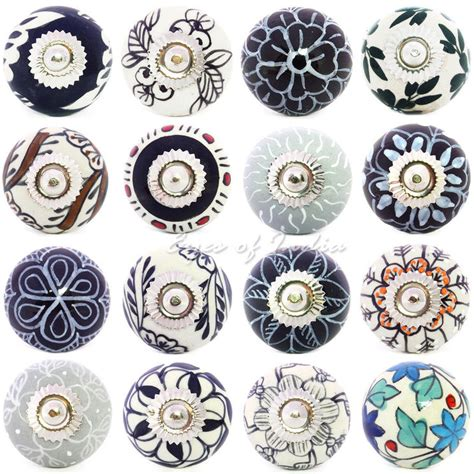 decorative drawer pulls floral ceramic knobs in greys blues of india