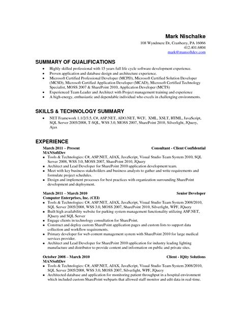 qualifications summary resume examples resume qualifications summary resume badak