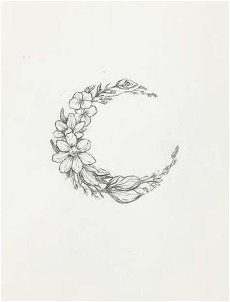 floral moon tattoo design sample