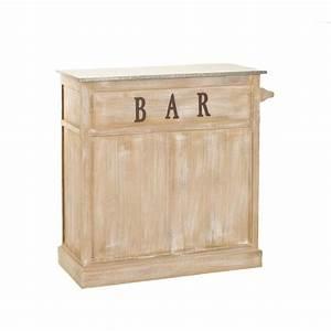 Meuble Bar Bois Patin Zinc 109x46x106cm SANDRA Pier Import