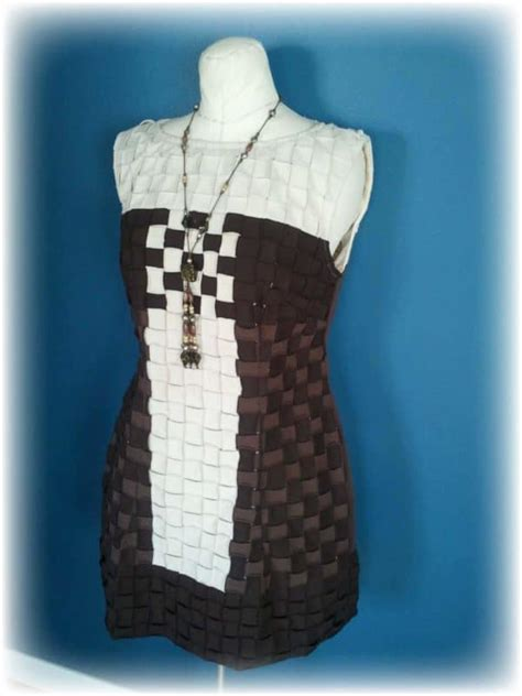 upcycled basket weave  shirt party dress recyclart