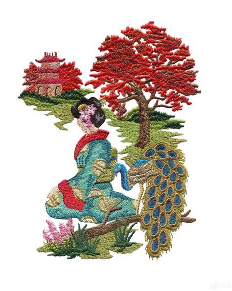 swngg110 a geishas garden embroidery design
