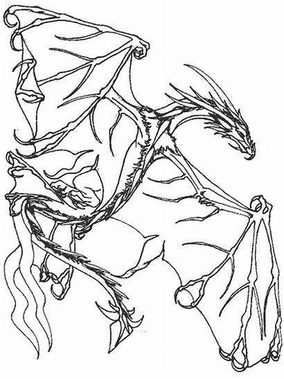 Coloring Dragon Medieval Flying