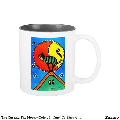 Is made manually by wacom device. The Cat and The Moon - Colorful Cat Art Two-Tone Coffee Mug by #dorahathazi For kids, cat art ...