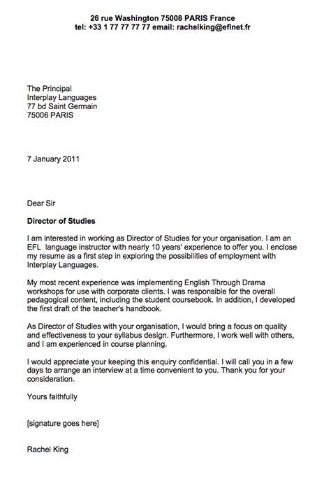 sample cover letter  english teacher business english