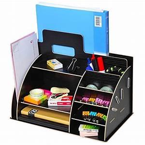 black wooden portable desktop office supply organizer With office supplies document holder