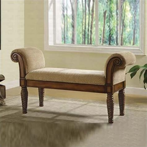 coaster upholstered bench  rolled arms