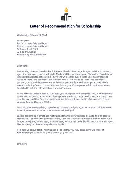 letter  recommendation  scholarship  templates