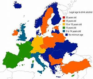 Legal age to drink alcohol in Europe [758×646] : MapPorn