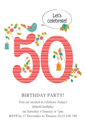 Template For 50th Birthday Invitations Free Printable by Womens 50th Birthday Free Printable Birthday