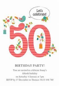 Womens 50th elegant birthday free printable birthday for Template for 50th birthday invitations free printable