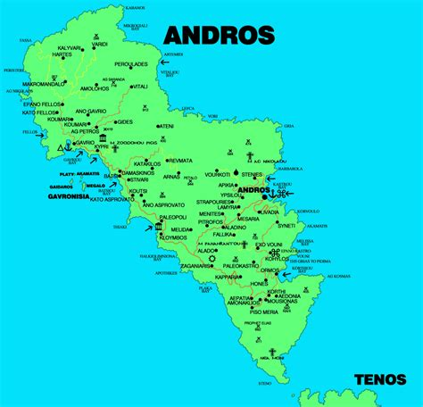 andros map map  andros island greece