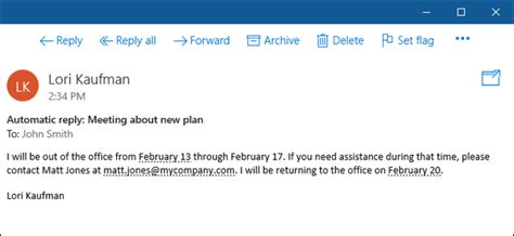 Office 365 Mail Auto Reply by How To Set Up An Out Of Office Reply In Windows 10 Mail