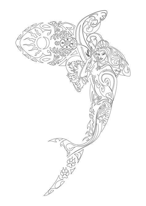 I like the way this mermaid looks like she's within a fish | Favorite Coloring Supplies | Shark