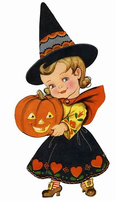 Halloween Retro Witch Clipart Graphics Adorable Pumpkins