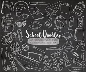 Chalkboard School Clipart. Hand Drawn Chalk Texture School
