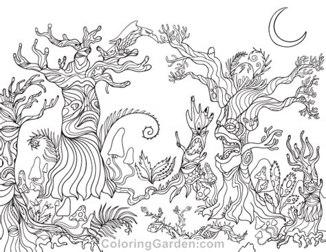 Free Printable Spooky Forest Adult Coloring Page. Download