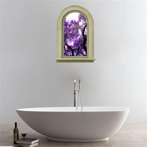 Bathroom Wall Flowers by 3d Purple Flowers Tree View Removable Bathroom