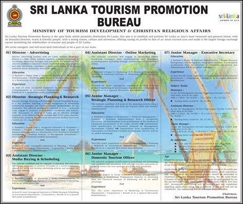 sri lanka tourism promotion bureau vacancies government