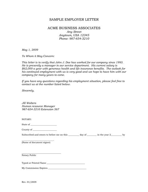notarized letter  employment templates