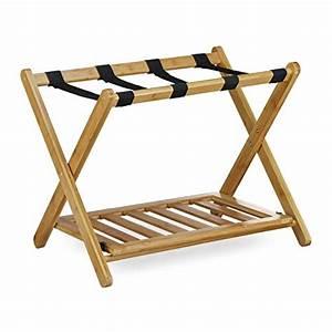 Valise En Bois : relaxdays porte bagage pose valise pratique support de bagage en bois de bambou avec 4 sangles ~ Teatrodelosmanantiales.com Idées de Décoration