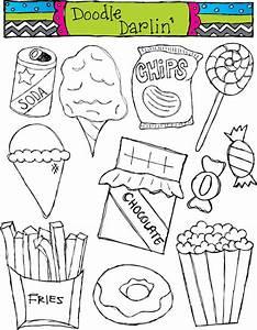 Items Similar To Junk Food Blackline Clipart Set INSTANT