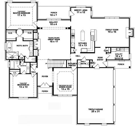 4 bedroom 2 house plans 653736 two 4 bedroom 3 5 bath traditional style house plan house plans floor