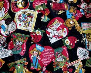 Vintage Valentine Novelty Print Fabric Children Cats Bears