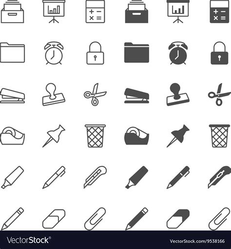 Office Supplies Vector by Office Supplies Icons Royalty Free Vector Image