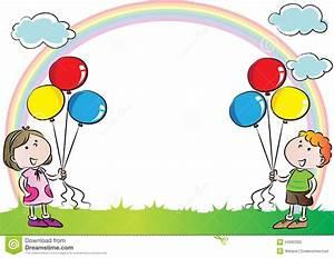 Enfants Avec L'arc-en-ciel à L'arrière-plan Illustration ...