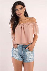 Cute Rose Crop Top - Off Shoulder Top - Rose Top