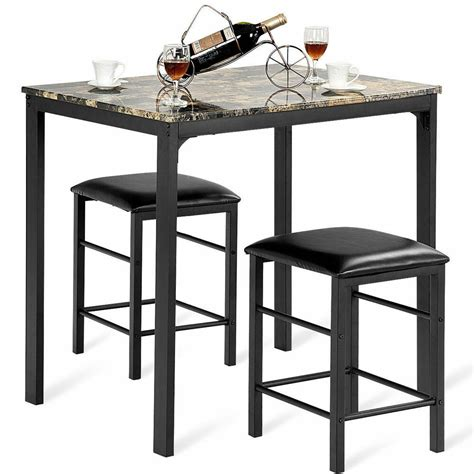 pcs counter height dining set faux marble table  chairs