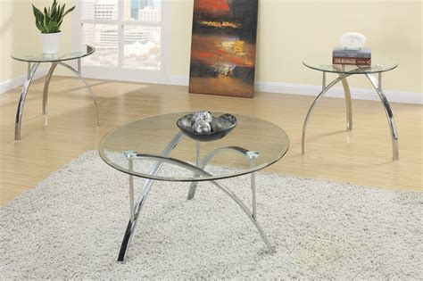 Oval black edge glass top 3 pieces coffee end table setthis 3 piece table set can be a eye catching furniture set of any interior. Poundex F3098 Silver Glass 3pc Coffee Table Set - Steal-A-Sofa Furniture Outlet Los Angeles CA