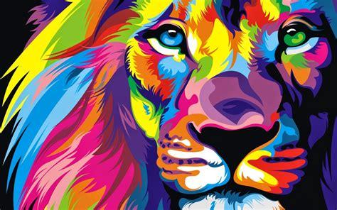 wallpaper lion artwork colorful hd creative graphics