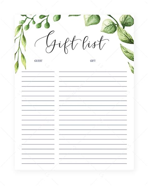 Click on the smaller game image in color of your choice and you will see the bigger image. Gift List Printable Instant Download Green Leaves (With ...