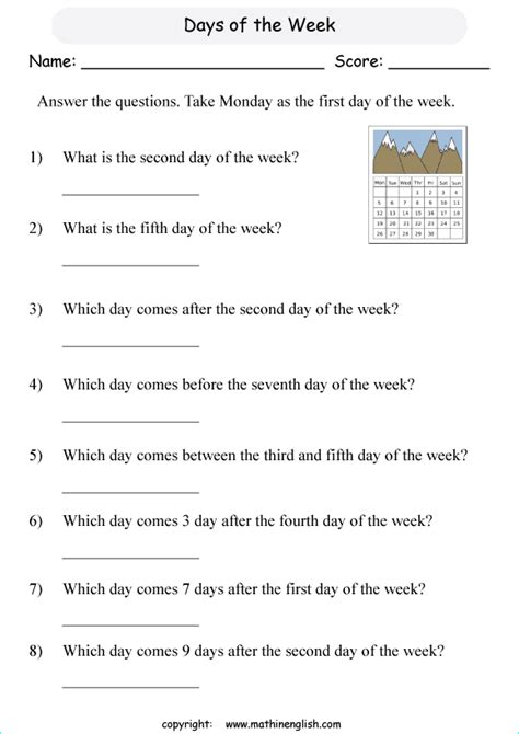 grade 2 math questions based on the days of the week and